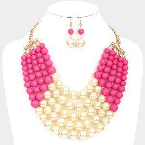 Cream&Fucshia Chunky Multistrand PearlBib Necklace